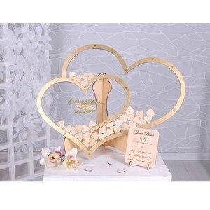 Изготовленная на заказ Современная двойная форма сердца Свадебная Гостевая книга украшение Золотое сердце Drop box Свадебная drop box 3D Гостевая ...