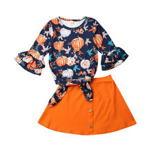 1-5Years Halloween Girls Costumes Toddler Baby Kid Long Sleeve Pumpkin Tops shirt Skirts Outfits Autumn Spring Clothes Set