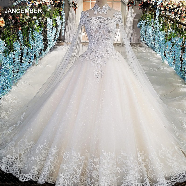 LS00169 Luxury wedding gowns with cape beaded ball gown short sleeves high neckine lace vestido de noiva princesa real photos