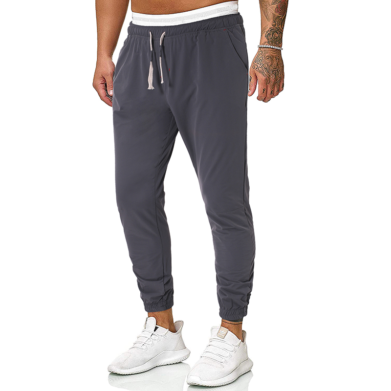 PUIMENTIUA 2019 Fashion Mens Autumn Sweatpants Full Length Casual Solid Slim Elastic Waist Streetwear Joggers Homme Sweat Pants