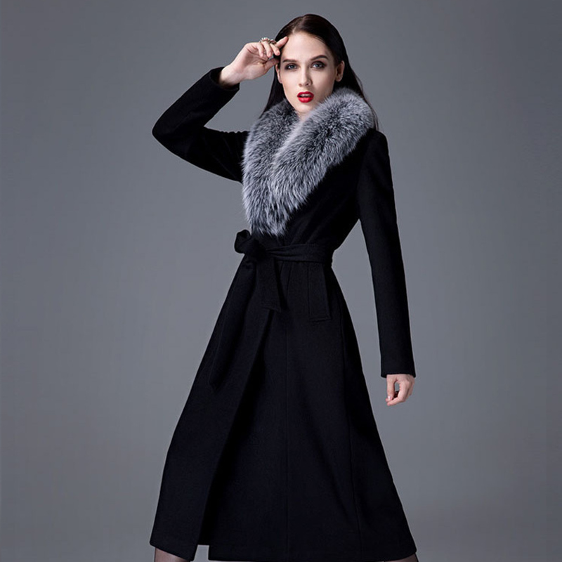 Cashmere Coat Woman Autumn Winter Overknee Thick Warm Wool Coat High Grade Real Fox Fur Collar Oversize Thickened Woolen Trench