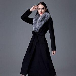 Image 3 - Высококачественное кашемировое пальто для женщин на осень и зиму, толстое теплое шерстяное пальто выше колена, утепленный шерстяной Тренч оверсайз с воротником из натурального меха лисы