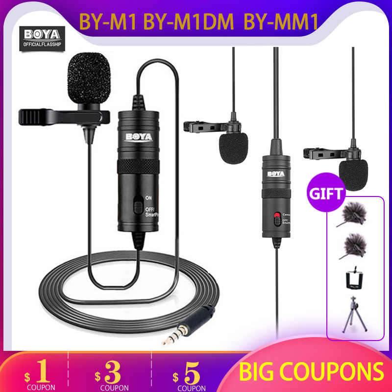 Microfoon Boya BY-M1 MM1 M1DM 6 M Studio Mic Lavalier Mini Audio 3.5 Mm Kraag Condensator Revers Voor Opname Iphone dslr Camera 'S