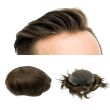 Chân Giả tóc nam tóc dệt tóc người Nam Bộ Tóc Giả Thụy Sĩ may viền đế PU miễn phí vận chuyển Fedex DHL