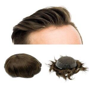 Image 1 - Protez saç erkek saç örgü İnsan saç erkek peruk İsviçre dantel etrafında pu tabanı ücretsiz kargo Fedex DHL
