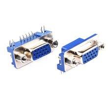 10 pçs/lote db15 adaptador vga dr15 soquete 3 linhas azul porta paralela 15 pinos d sub 15 vias pcb 90 graus conector fêmea