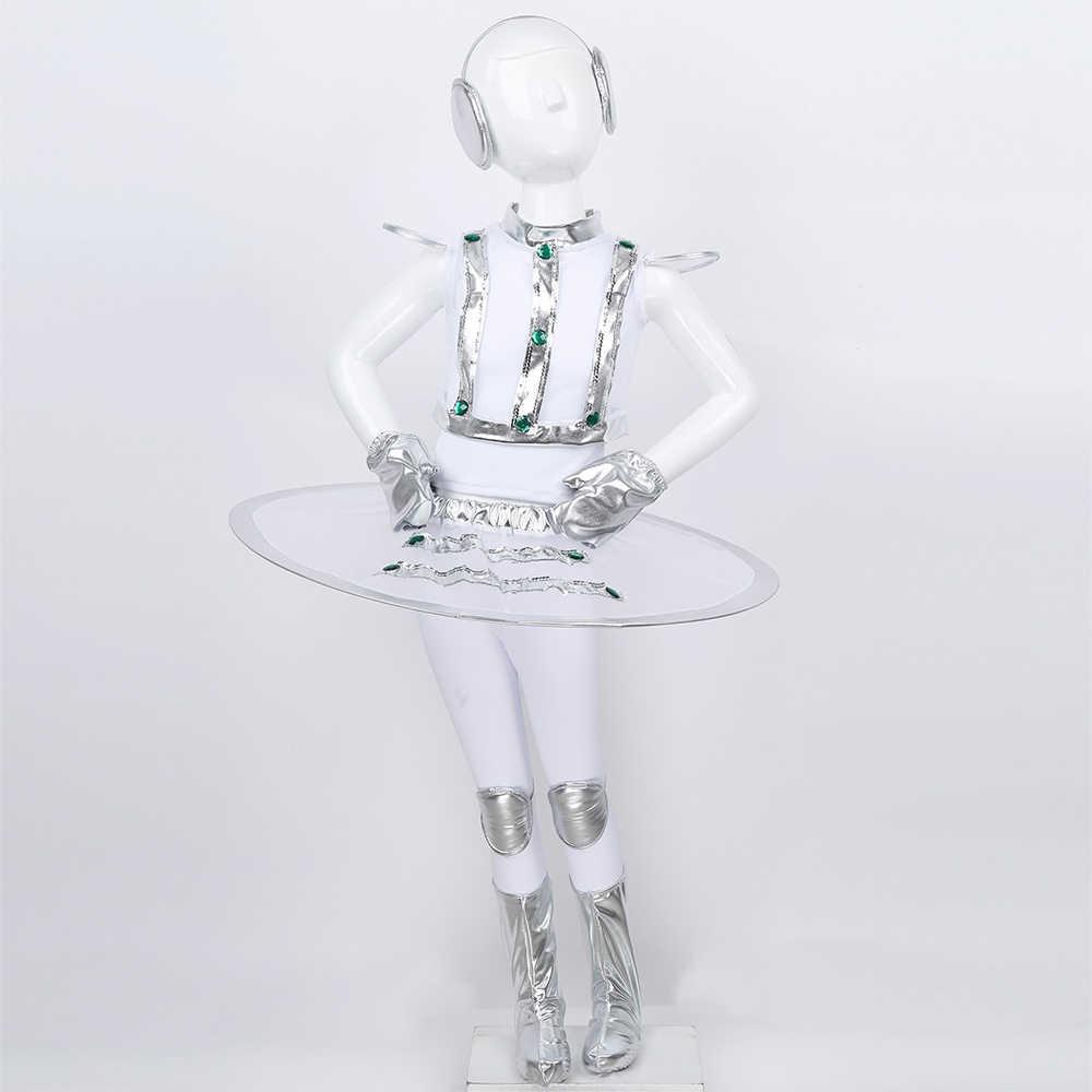 Uzay astronot Cosplay kostüm gençler kızlar çocuk Robot kostüm oyunları sahne kostümleri çocuklar için cadılar bayramı karnaval dans aksesuarı