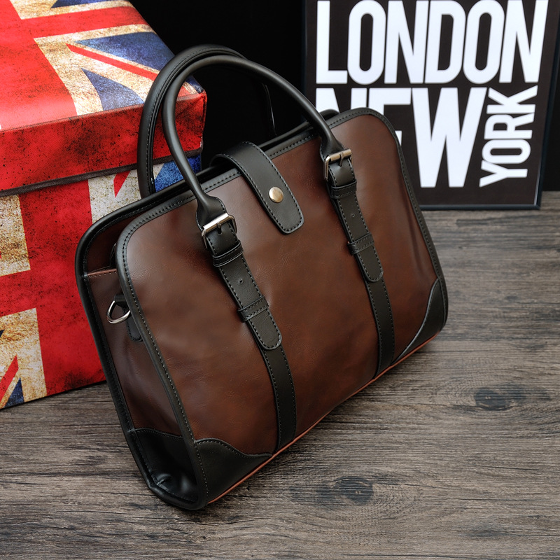 Men Briefcase Laptop Leather Pu Sacoche Homme Computer Bag Office Bags For Man Bussiness Work 2020 Document Brown 0089