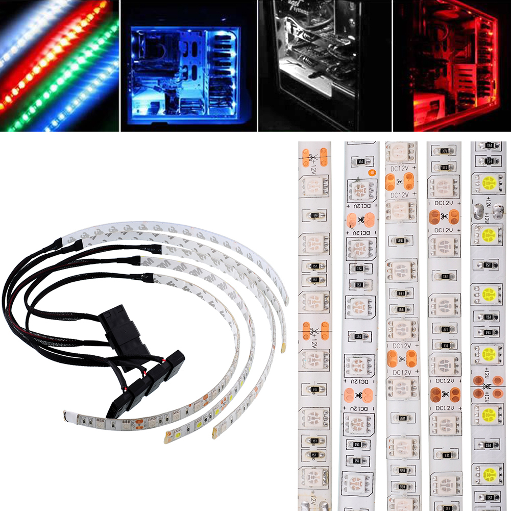 Waterproof Computer Strip White Flexible STRIP LIGHTS For 60CM(Cable+Light) Bright Tech & Gadgets Light PC Lights LED LED SMD