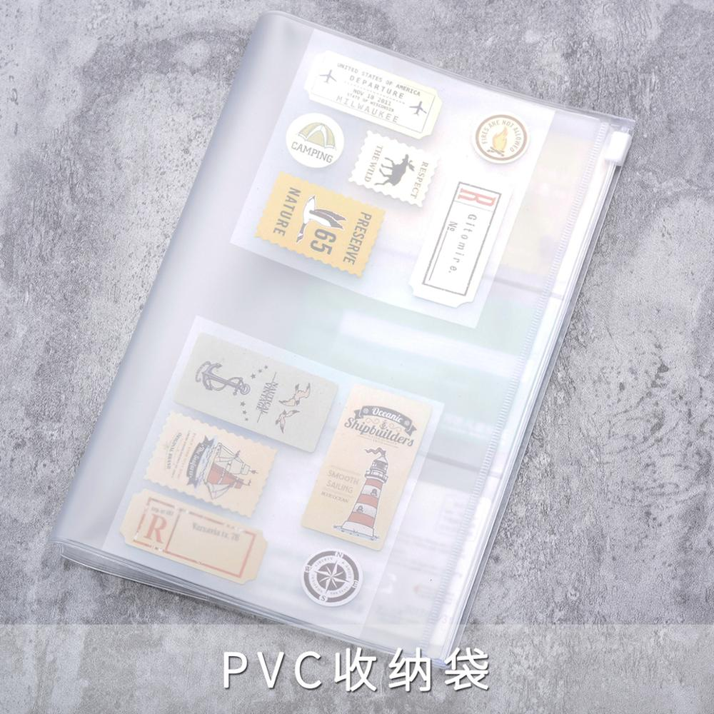 Pvc Zipper Bag FOR Traveler's Notebook Accessory Card Pocket Pouch Bag Storage A5/L Standard/M/S 4 Size For Cowhide Diary