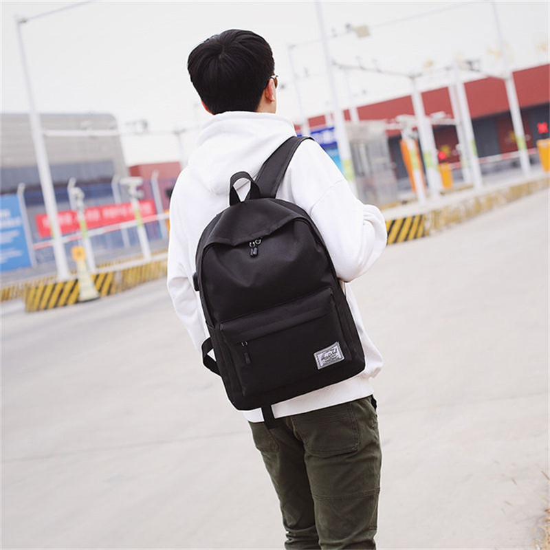 Men's Backpack Canvas Material British Fashion Casual College Style High Quality Design Multi-function Large Capacity