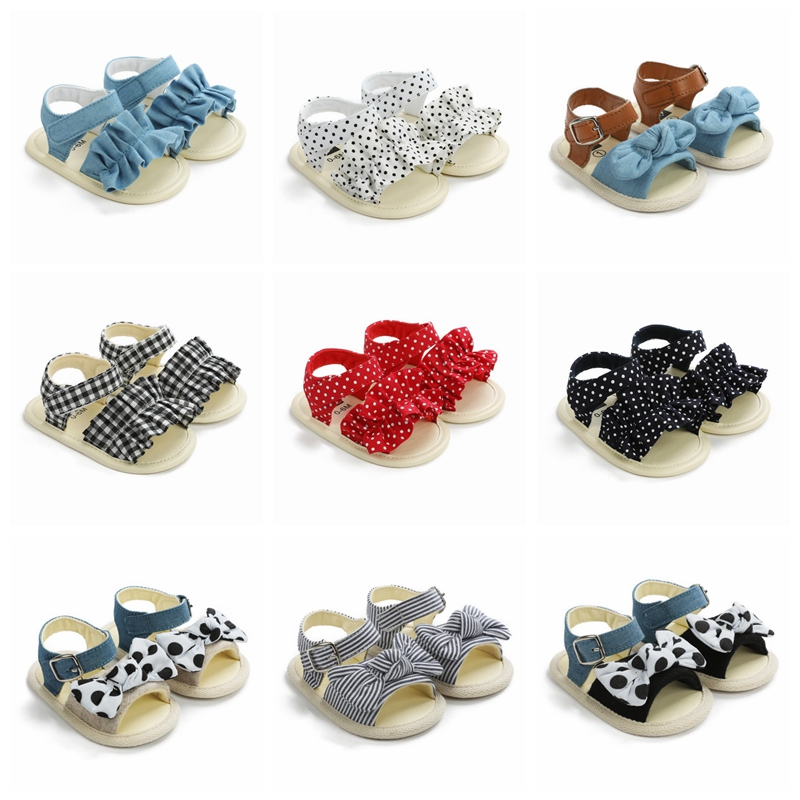 Summer Newborn Baby Girl Sandals Wave Dot Soft Sole Baby Shoes Prewalker Summer Princess Sandals For Girls