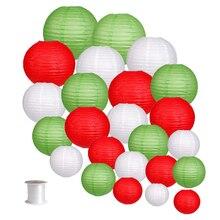 """24 шт """"-12"""" белый красный зеленый китайский бумажный фонарик японский круглый фонарь e papier lampion Свадебные Рождественские вечеринки декоративные"""