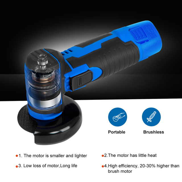 12V Mini Brushless Angle Grinder Cordless Polishing Grinding Machine 2.0mAh 19500RPM Electric Power Tools for home by PROSTORMER 5