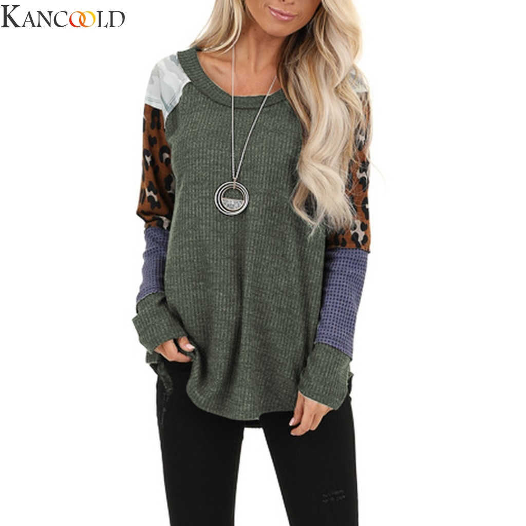 KANCOOLD Women Swearshirts Leopard Patchwork  Oversize Round Neck Long Sleeve  High Quality Pullover Loose Sweartshirt New