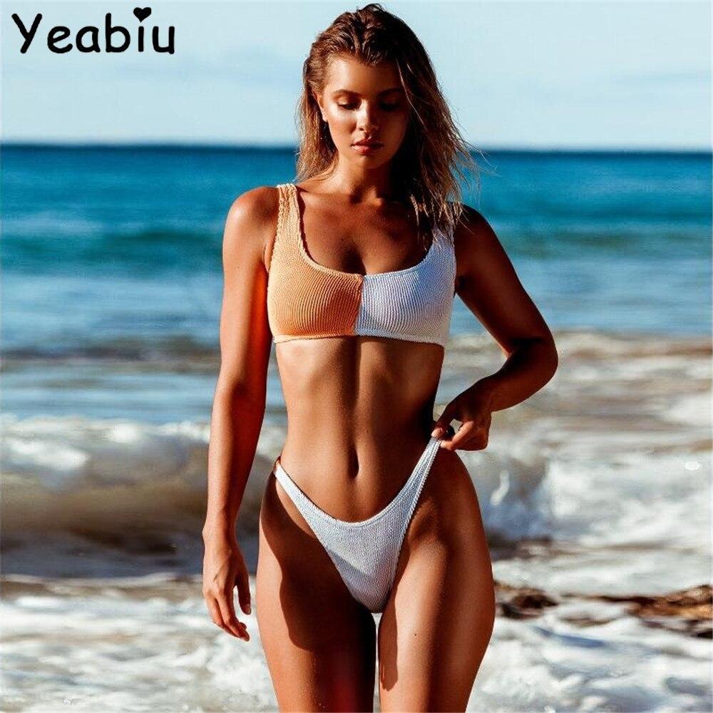Sexy Bikini Set Women Low Waist Swimsuit Color Splice Push Up Bikini Famale Vacation Beachwear Bathing Suits Monokini Biquini