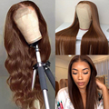 T Part Lace Front Human Hair Wigs Brazilian Wavy Brown Color Human Hair Lace Wigs Straight Pre Plucked Bleached Knot 180 Density