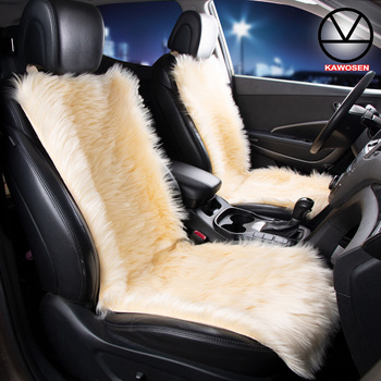 KAWOSEN 2PCS Long Faux Fur  Car Seat Cover Universal Autumn And Winter Warm Car Cushion Pink Artificial Plush Seat Covers LFFS03