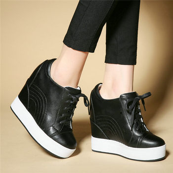 Lace Up Punk Trainers Women Genuine Leather Wedges High Heel Platform Pumps Shoes Female Round Toe Fashion Sneakers Casual Shoes