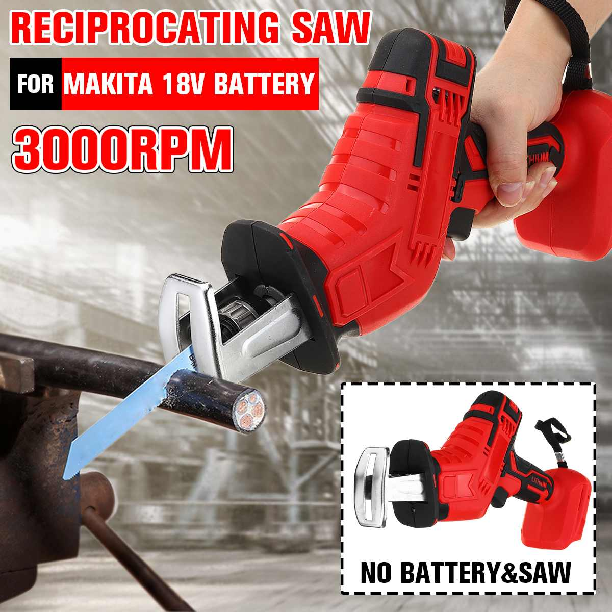 18V Cordless Mini Reciprocating Saw Body Adjustable Speed Replacement Woodworking Cutter Tool Electric Saw for Makita Battery