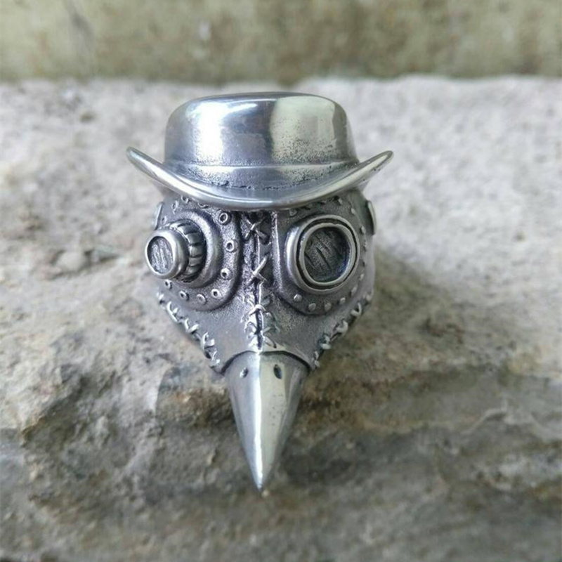 EYHIMD Gothic Mens Plague Doctor Ring 316L Stainless Steel Skull Rings Punk Rock Party Ring Satanic Jewelry Gifts