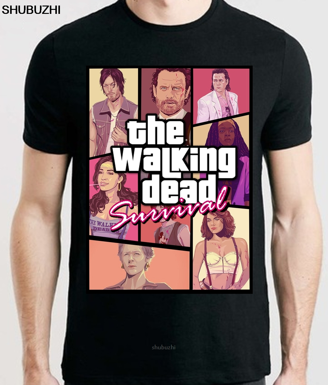 The Walking Dead TWD Negan Rick Grimes Daryl Dixon Walkers Splatter T-Shirt