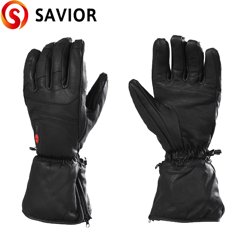 Savior Goatskin Electric Battery Heated Gloves For Winter Sports Motorcycling Riding Skiing Fishing Hunting
