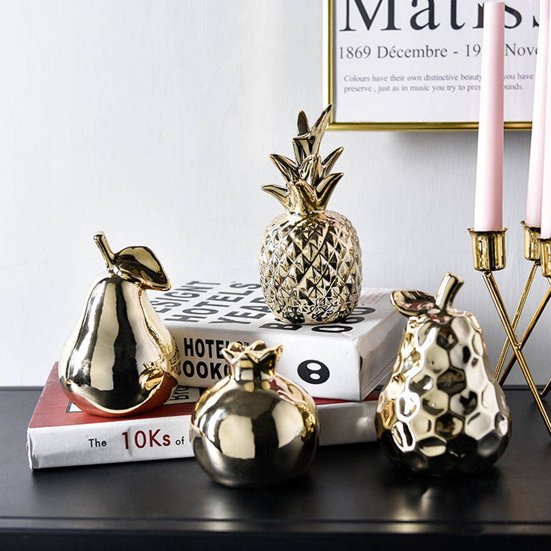Fruit Resin Ornament Seating Apple-Decoration Ceramic Pineapple Decor Home Gold Luxury title=