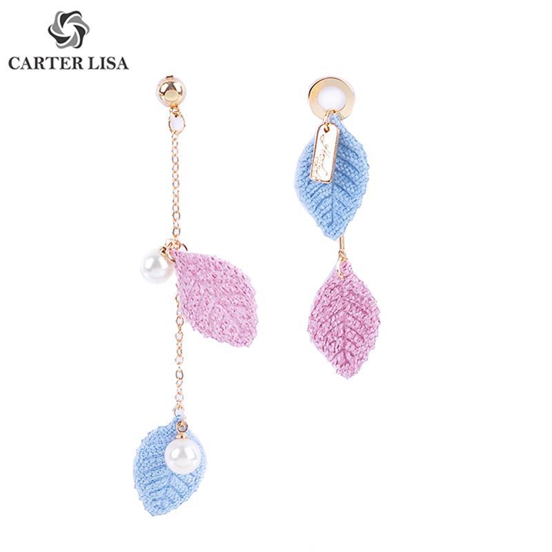 CARTER LISA 2019 New Colorful Leaf Long Chain Pearl Statement Drop Earings For Women Ethnic Bohemian Jewelry Party Gifts
