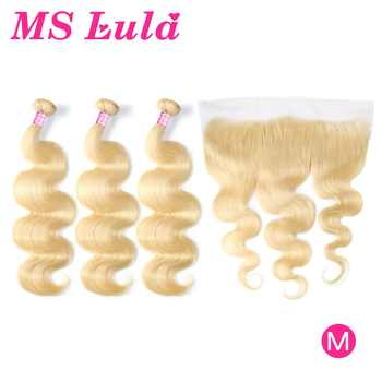 MS Lula Brazilian 613 Body Wave Blonde Human Hair 3 Bundles With 13x4Lace Frontal Closure Middle Ratio Remy Bundles Wtih Closure - DISCOUNT ITEM  51% OFF All Category