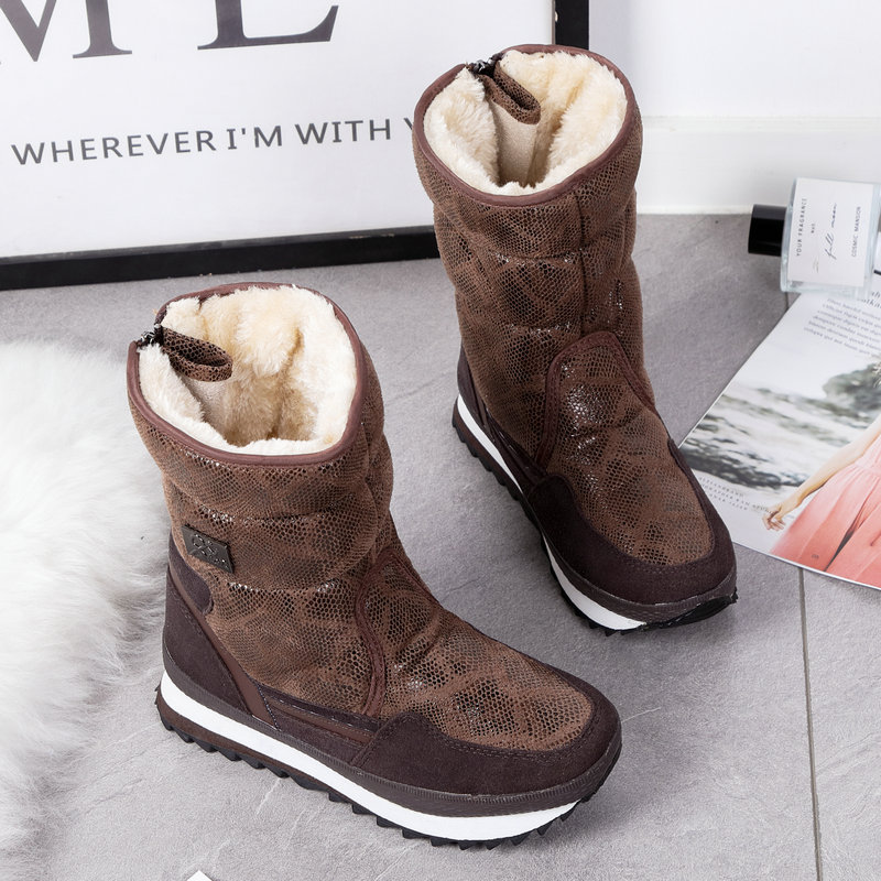 Snow Boots Women Brown Python Snakeskin Back Zipper Thick Fur Lined Anti-slip Waterproof Winter Warm Boots Lady Plush Lining image