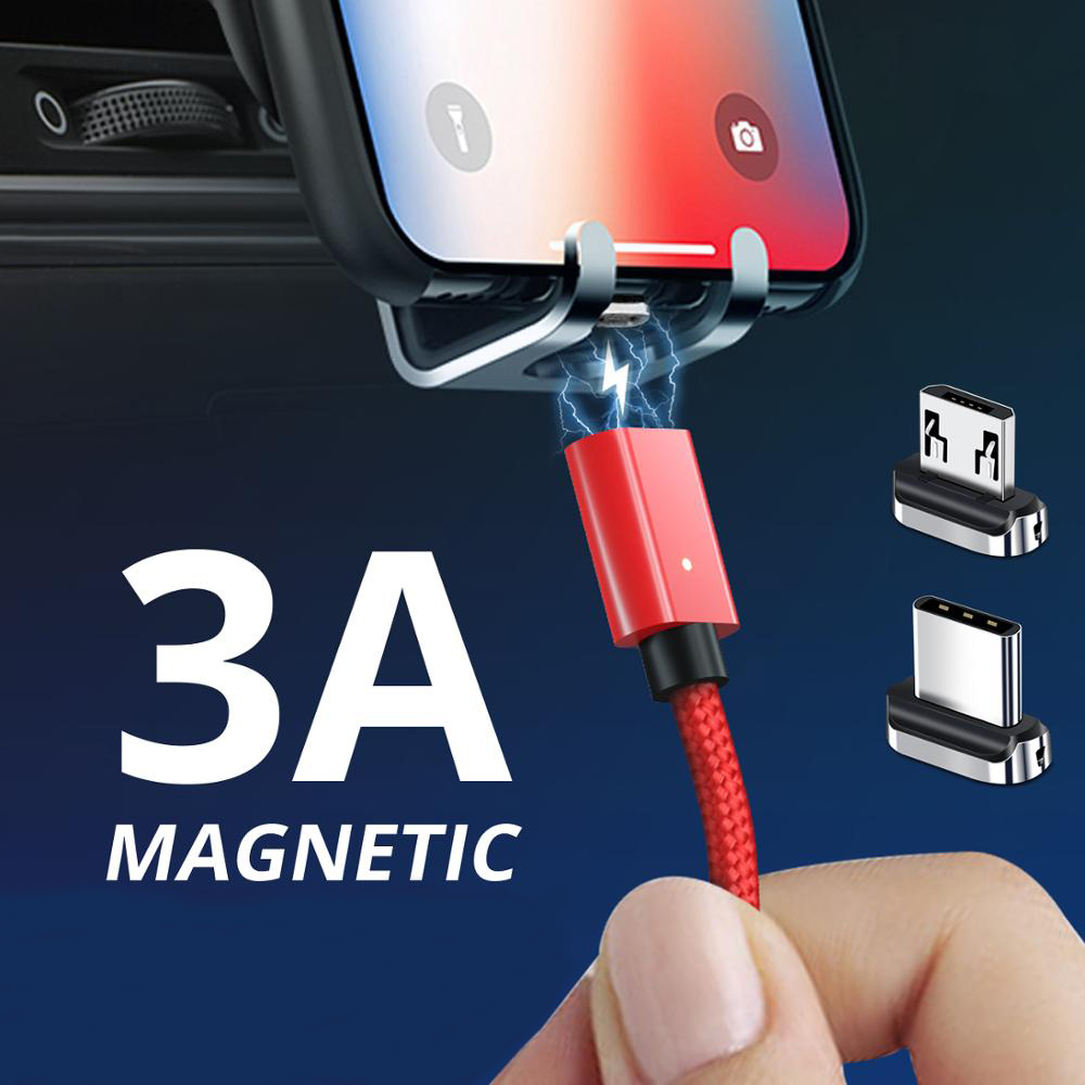 ANMONE Magnetic <font><b>Cable</b></font> Micro USB Type C <font><b>Cable</b></font> 1m 2m <font><b>Nylon</b></font> <font><b>Braided</b></font> Quick Charge Wire Fast Phone Charger Magnet Charging Data Cord image