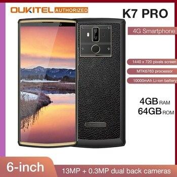 Перейти на Алиэкспресс и купить OUKITEL K7 Pro смартфон с 6-дюймовым дисплеем, восьмиядерным процессором MT6763, ОЗУ 4 Гб, ПЗУ 64 ГБ, Android 9,0, 18:9, 10000 мАч