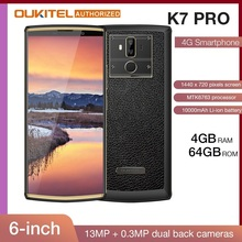 "OUKITEL K7 Pro 4G RAM 64G ROM Smartphone Android 9.0 MT6763 octa core 6.0 ""FHD + 18:9 duży Screen10000mAh odcisk palca telefon komórkowy"