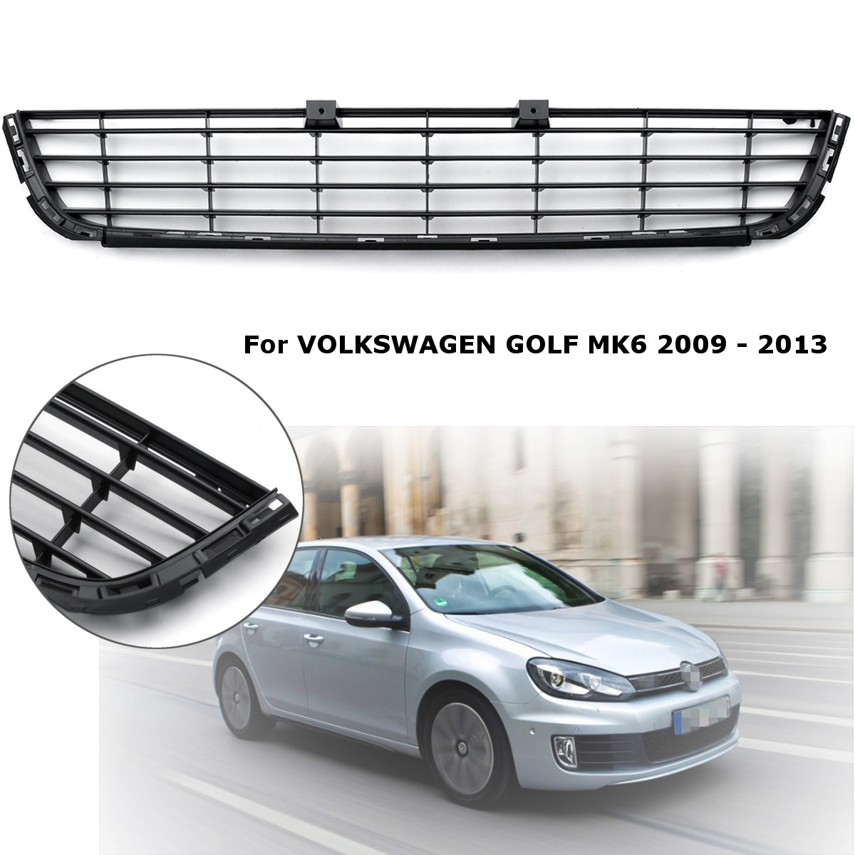 VW Polo 6R MK5 Front Lower Centre Bumper Grille Vent Panel Black Chrome Trim