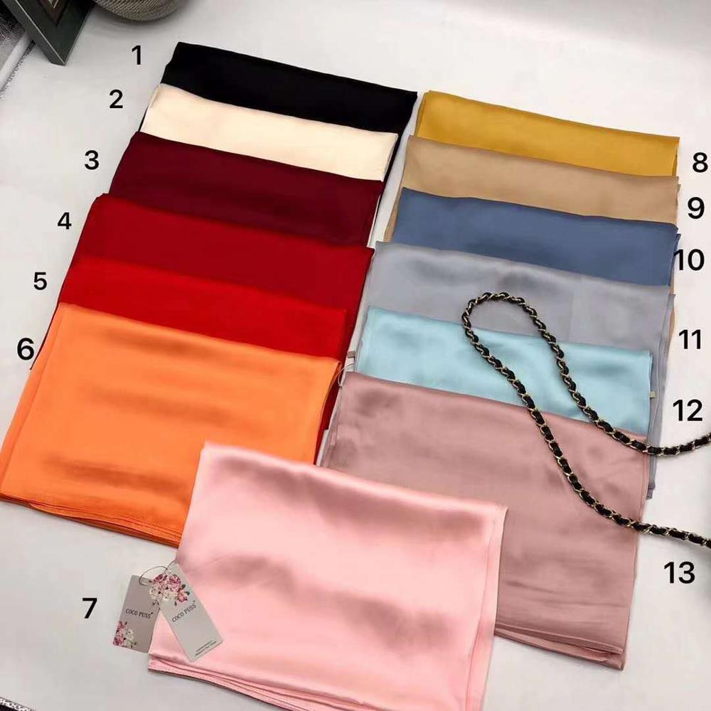 NEW Luxury Silk Chiffon Hijab Scarf Women Plain Scarves Silky Soft Muslim Shawl Fashion Hijabs