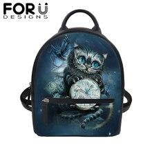 FORUDESIGNS Gothic Cat 3D Print PU Backpack Women Mini Shoulder Bag for Girl Students Black School Bookbag Popular Daypack