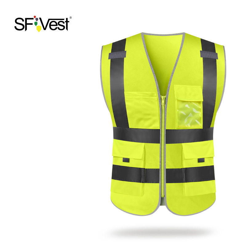 SFvest Reflective Waistcoat Breathable Mesh Vest Yellow Vest
