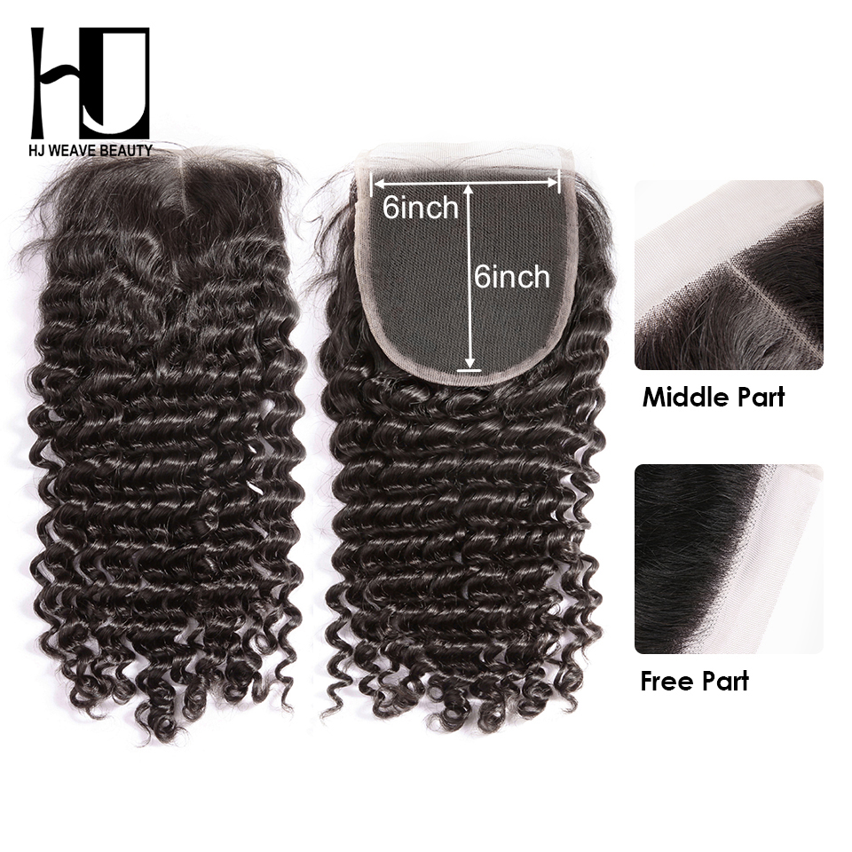 HJ Weave Beauty Peruvian Deep Wave 6x6 Lace Closure Deep Parting 10-20inch 100% Brazilian Remy Human Hair Closure