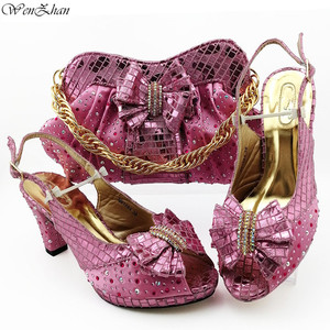 Image 2 - Italian Women Shoes 8.5cm And Bag To Match Set Royal blue Color Nigerian High Heels Party Shoes And Bag Set 38 43 B98 5