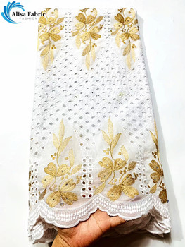 Alisa Gold Embroidery Design 100% Cotton Lace Fabric Latest Nigerian Dry Lace Swiss Lace Fabric For Sewing Clothes XS03058835-90