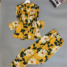 Spring New Fashion Printing Women Pajamas Ice Silk Long Section Comfortable Sleepwear