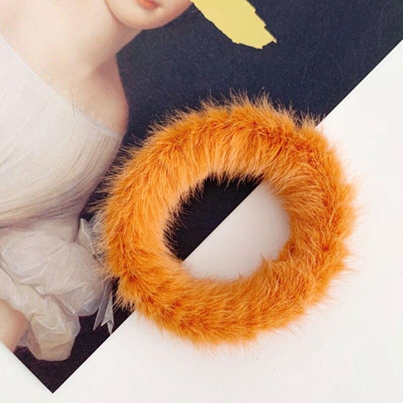 Новые зимние теплые мягкие резинки из кроличьего меха для женщин и девушек, эластичные резинки для волос, плюшевая повязка для волос, резинки, аксессуары для волос - Цвет: 60