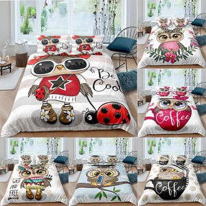 Homesky Cute Cartoon Owl Duvet Cover Bedding Set Comforter Cover Quilt Cover Pillowcase 2/3 Pcs Boy Girl Twin Single Double Size
