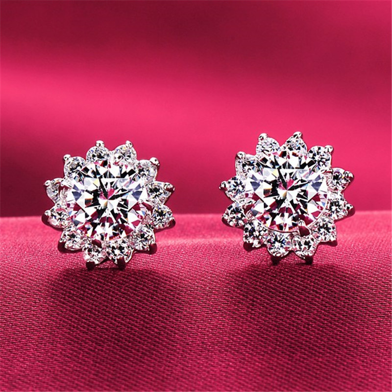 Cute Flower 2ct Lab Diamond Stud Earring Real 925 Sterling Silver Engagement Wedding Earrings For Women Charm Party Jewelry Gift