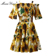 MoaaYina Fashion Designer Runway dress Summer Women Sunflower Print Elastic waist Off shoulder Holiday Elegant Cotton Dresses все цены
