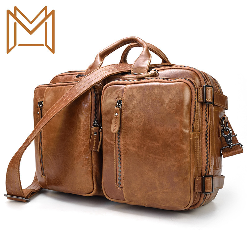 Three Use Genuine Leather Man Briefcase Layer Skin Business Affairs Portable Layer Cowhide Men's Single