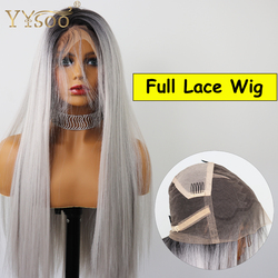YYsoo Zwei Ton Ombre Synthetische Volle Spitze Perücken für Frauen #2 Dark Wurzeln Grau Ombre Synthetische Spitze Perücken Wärme beständig Haar Perücke