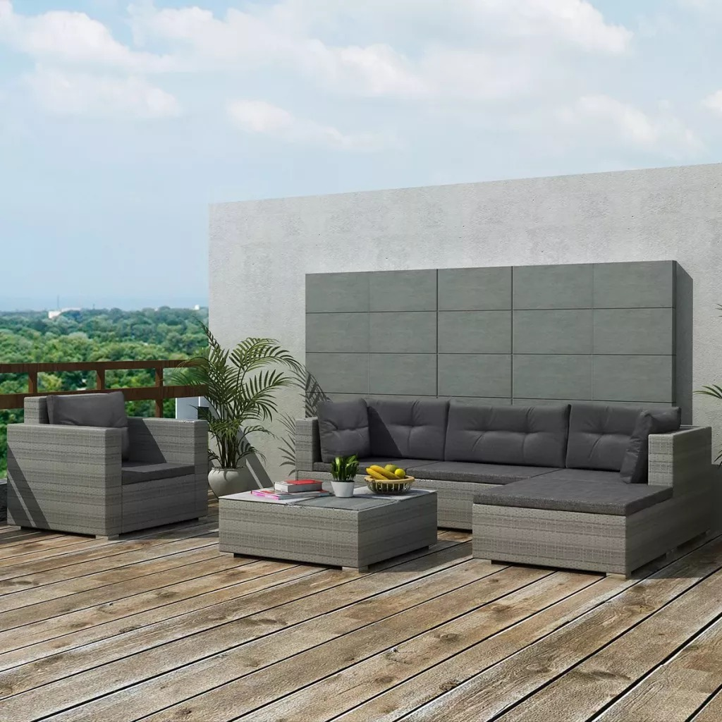 VidaXL Garden Furniture Set 17 Pcs Gray Resin Woven 41879