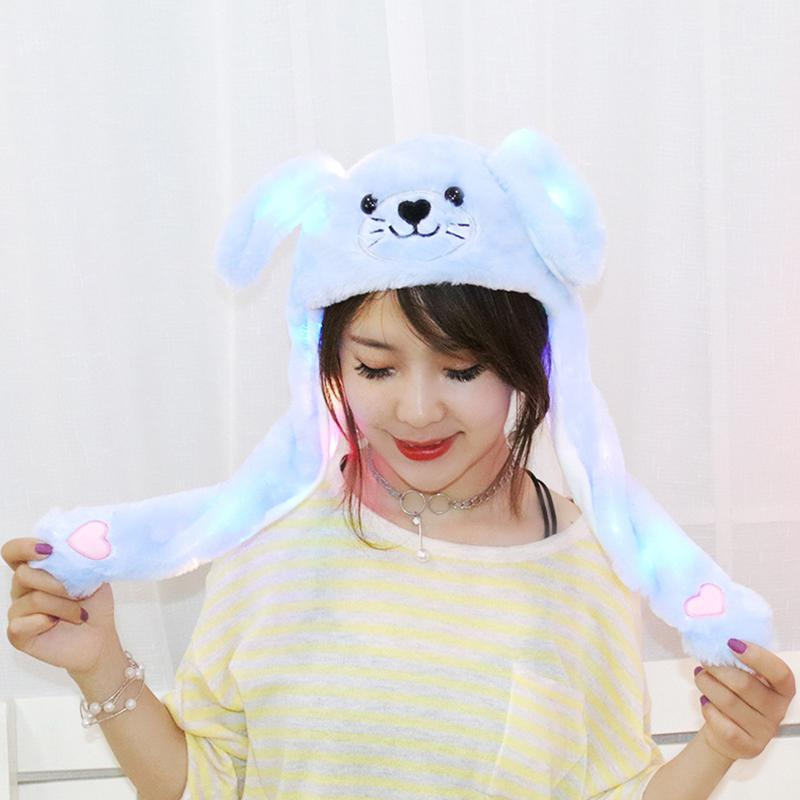 Cute Cartoon Plush Cap Up Down Ear Figure Funny Girl Women Hat Glowing Plush Toy With Moving Ears Gift for Girls image